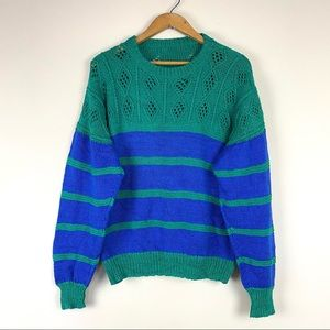 Vintage Handknit Color Blocked Sweater Size XL